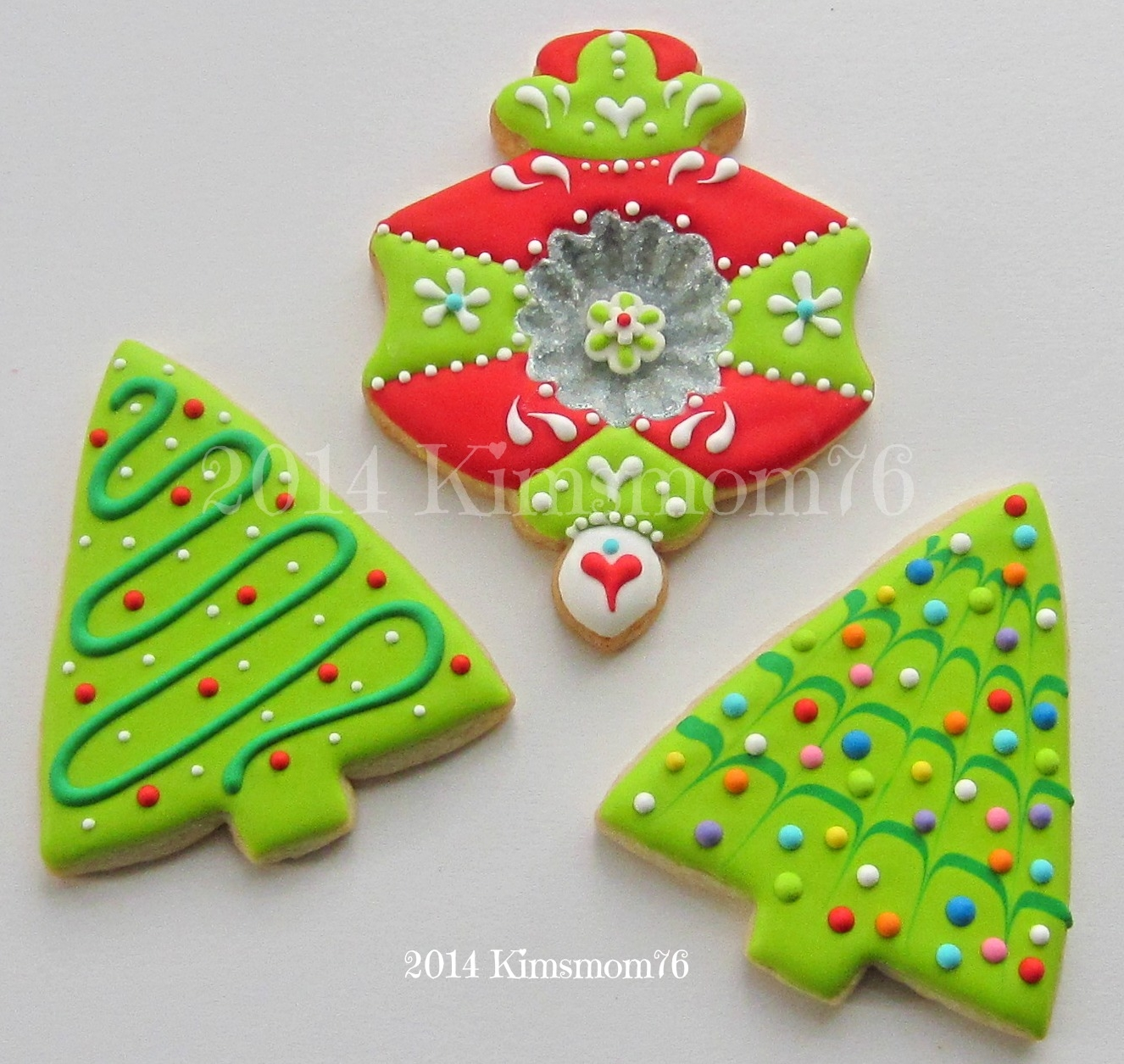 Ornament Cookie And Simple Trees.   Simple trees and an ornament cookie with a decorative indentation. NFSC and RI.