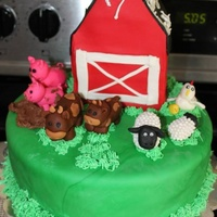Rachel's Farm This is a farm cake that I made for my daughter. Third cake I've ever done fondant on. My daughter made the momma chicken and helped...