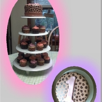 Aspen's Birthday Leopard print and cupcake tower for a 1st birthday. Thanks for looking!
