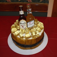 Beer Bottle Wedding Cake This was made for a family member's redneck wedding. Everything edible except the labels and caps. Thanks for looking!