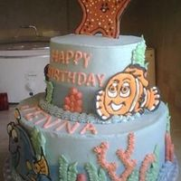 Nemo Cake buttercream icing w/color flow characters: Nemo, Dory, Squirt & Peach. Inspiration was from a photo the parent brought me, I don't...