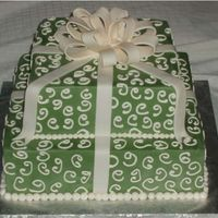 Green Gift Box Wedding Cake With Bow   Green 2 tier square wedding cake with ivory bow and swirls.