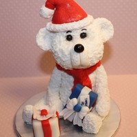 Christmas Ber Gumpaste Christmas Bear with presents