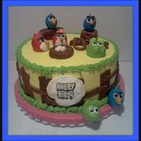 Angry Birds 10 inch strawberry cake with buttercream and fondant accents.