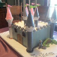 Twins Birthday Cake Made for a boy and girl...one side of the castle was for the prince, one side for the princess! Accents made from chocolate.