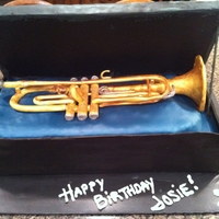 Trumpet Birthday Cake Trumpet made from gumpaste.