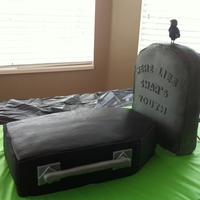50Th Birthday Cake 50th birthday cake. Coffin with headstone and grim reaper