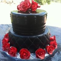 Black With Red Roses Birthday Roses made from fondant.