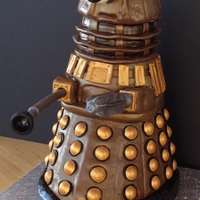 "Dalek Cake - From Dr. Who About 15"" tall, all chocolate cake except dome is RKT. The lights on top actually work (used Floralytes under the lights molded from..."