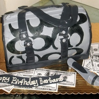 Custom Coach Cake   coach bag and shoe cake