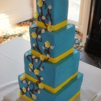 "Buttercream Blue Squares buttercream iced squares - 10"", 8"", 6"" and 4"" - they held a special form of torture for me. yellow fondant ribbon and..."