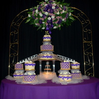 Purple Gold And Ivory Q Cake Fondant covered purple, ivory and gold Quinceanera cake. This is my first time working with the fountain and stair case design, but the...
