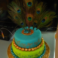 21St Birthday  This was for my middle daughter's 21st Birthday. She requested peacock feathers with teal & lime green tiers. She loved the cake &...