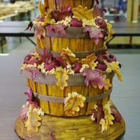 Apple Basket Harvest Cake Stacked cake, baskets covered in fondant, apples and leaves in fondant. This cake took 2nd place in Memphis Delta Fair.