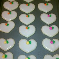 Wedding Heart Cookies Sugar cookies with Poured cookie icing and RI flowers