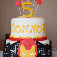 "Iron Man Marvels The Avengers 8"" is Vanilla Bean Cake with Raspberry Jelly filling, 6"" is spice cake with almond BC filling. decorations are fondant.Not sure..."