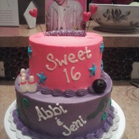 Justin Bieber Cake This was a birthday cake for twin girls. BC with fondant accents. Justin is just a picture I cut out of a mag.