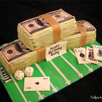 Money, Sports And Fun Another money stacks cake. This one is made for a person who loves gambling, sports and money. The money stacks were cut from a 9x13 cake...