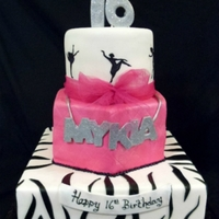"Sweet 16 Bottom tier is a dummy cake. Done for a girl who loves to dance and wanted some ""bling"" on her cake."