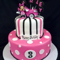 Minnie In Pink   customer requested that the cake match the invitations. Added the toy on top as a gift to the birthday girl.