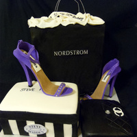 Shoes & Shopping  Cake done for a 50th Birthday. Chanel purse, shoe box(9x13 cut in half and stacked) and top of Nordstrom bag is cake. The shoes are made of...