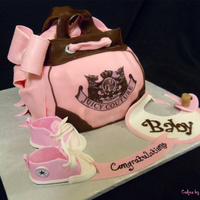 "Juicy Diaper Bag And Converse Baby Shoes This cake has be done many times by lots of cakers, but the customer wanted to add some baby shoes to it. I used (2) 8"" square and (1..."