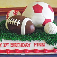 Ball Cake soccer ball is cake, other balls are RKT, 1/4 sheet frosted in buttercream, balls covered in fondant