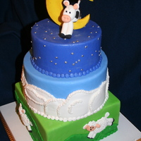 Baby Shower Cake The cow jumped over the moon theme.