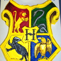 Hogwarts Crest freehanded in buttercream