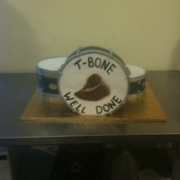 Drums Drums grooms cake. The bottom of the base drum is styro. All chocolate cakes.
