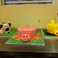 "Farm Animals 8"" cakes. The cow is chocolate with chocolate smbc filling, the pig is almond with strawberry smbc, and the duck is red velvet with..."