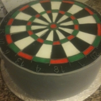 "Dart Board   14"" round. Chocolate with chocolate smbc."