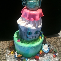 Alice In Wonderland 3 tier topsy turvy cake. All fondant with fondant decorations. The teapot is a RKT.
