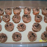 Chocolate Buttercream On Strawberry Cupcakes