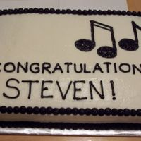 Graduation Cake - Musical Notes, Black/white