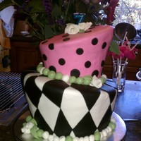 Topsy Turvy Cake For Mad Hatter Tea Party Birthday Two tier, chocolate fudge pound cake with ganache filling, covered in Duff's black fondant and Choco-Pan tinted in other colors. I...