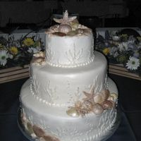 Ivory & Tan Seashells Ivory buttercream with shades of ivory & brown fondant seashells.