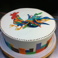 Rooster Cake Cake was based on artwork provided by client, an art gallery owner.
