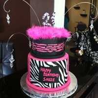 Zebra Stripe 21St Birthday Cake top tier is a dummy cake, Zebra stripes are wilton sugar sheets