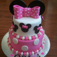 "Minnie Mouse Birthday 2-tiers--8"" & 6"" circles--decorated with fondant & gumpaste ears and bows. Thanks for looking!"