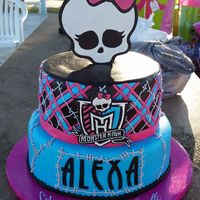 "Monster High  Monster High birthday cake for my daughter. 10"" half strawberry half chocolate; 8"" strawberry chocolate zebra. MH Shield out of..."