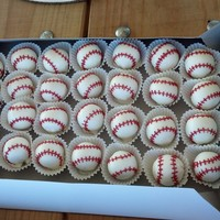 Baseball Cake Pops   Individual baseball cake pops without the sticks. White cake with white chocolate covered and red chocolate stitches