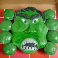 Incredible Hulk  Cupcakes covered in BC & MMF. It was supposed to be the Incredible Hulk. but looks a little more like Frankenstien or something. Lol!...