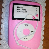 Ipod   Pink iPod cake with head phones