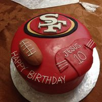 "Sf 49Ers Cake 9"" cake covered with HMMF w/ fondant decorations"