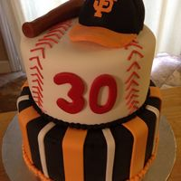 "Sf Giants 8"" & 6"" cakes covered with HMMF all decorations & accents are fondant."
