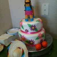 Fiesta Shower Cake Mexican Fiesta Themed Baby Shower Cake w/ Fondant accents and Mini Burro Pinata on top