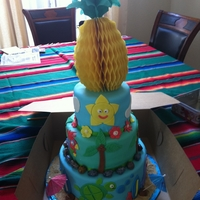 Luau Cake Hawaiian Themed Birthday Cake w/ Fondant accents and paper pineapple on top