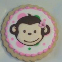 Pink Mod Monkey Cookie Mod Monkey cookies for little girls birthday party. For guests and gift bags. NFSC with flow sugar monkeys that I made ahead of time and...