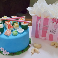 Sushi And Victoria's Secret Sweet 16 Sweet Sixteen cake. Sushi is RKT wrapped in fondant with coconut, jelly beans and icing as decorations. Omelet is lemon cake on RKT iced...